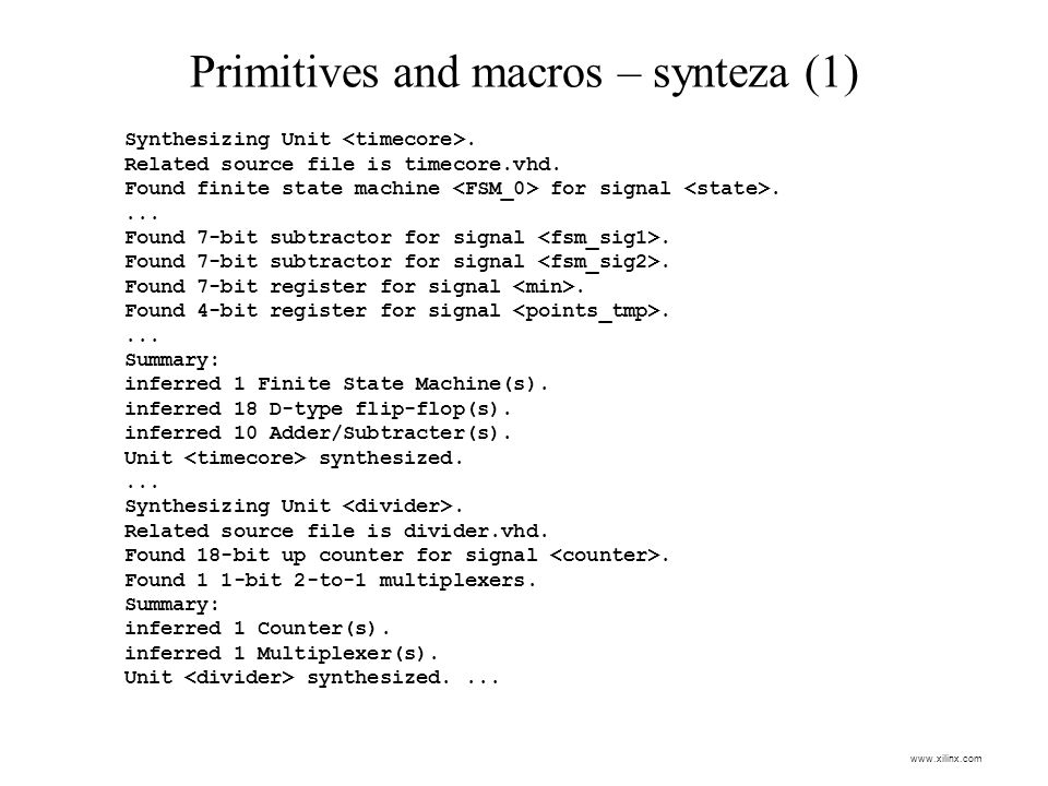 Primitives and macros – synteza (1)