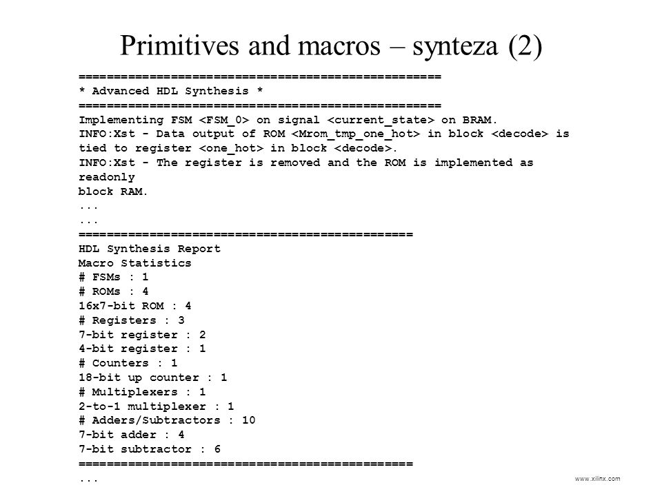 Primitives and macros – synteza (2)