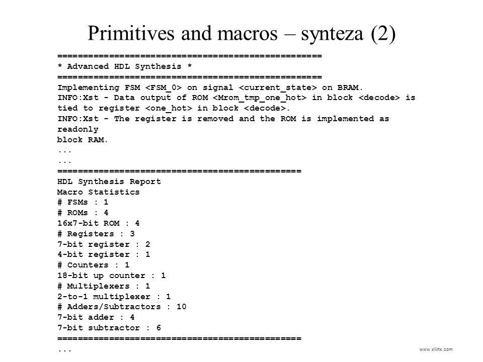 Primitives and macros – synteza (2)