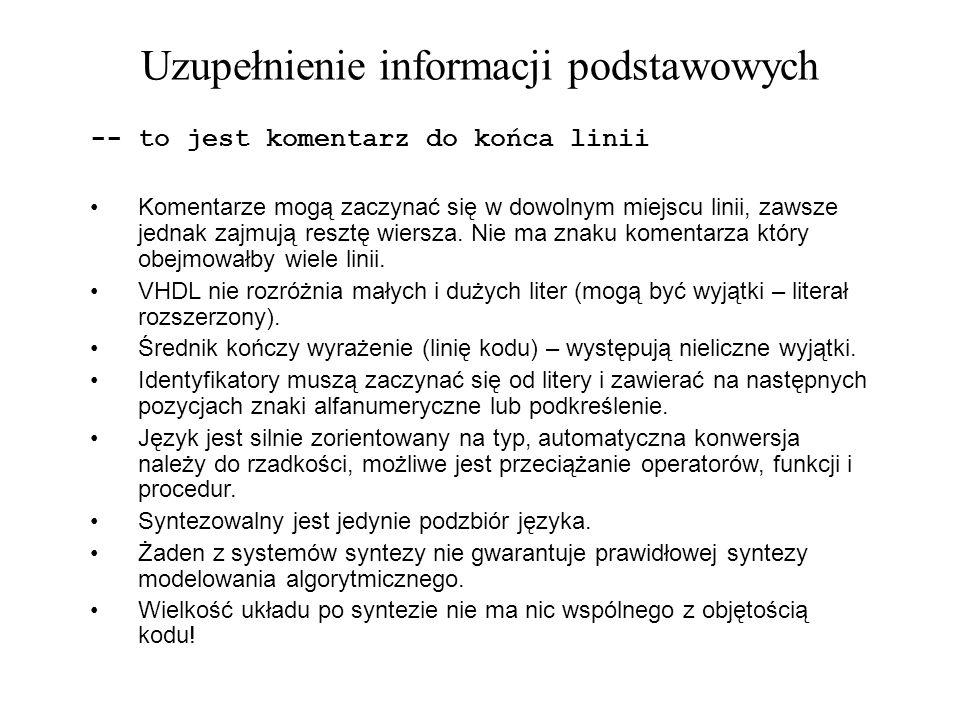 Uzupełnienie informacji podstawowych