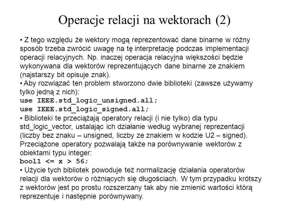 Operacje relacji na wektorach (2)
