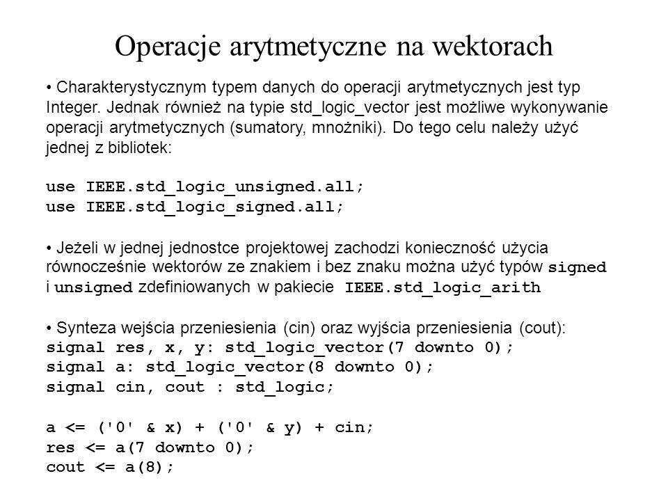 Operacje arytmetyczne na wektorach