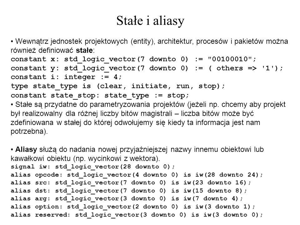 Stałe i aliasy Wewnątrz jednostek projektowych (entity), architektur, procesów i pakietów można również definiować stałe: