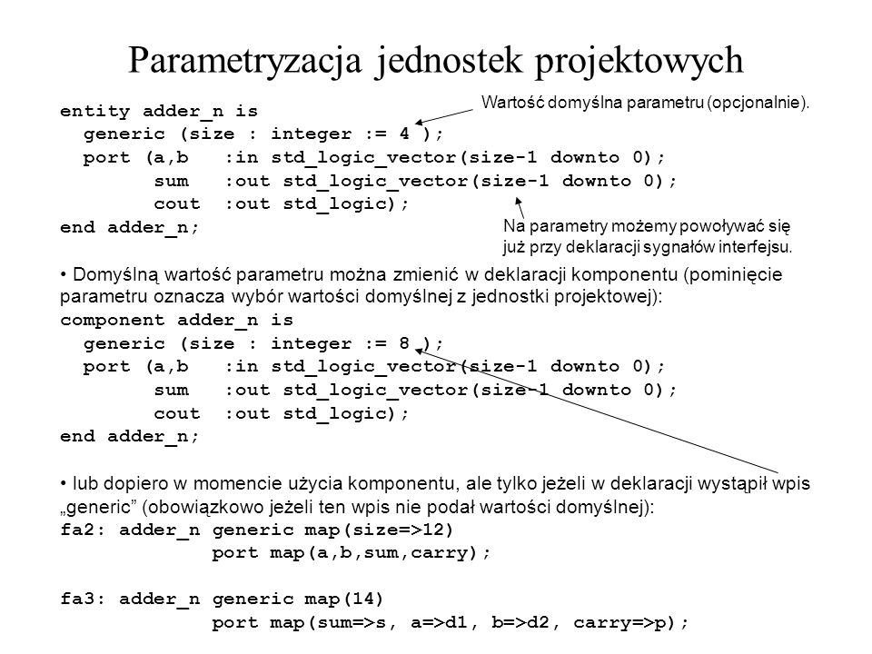 Parametryzacja jednostek projektowych