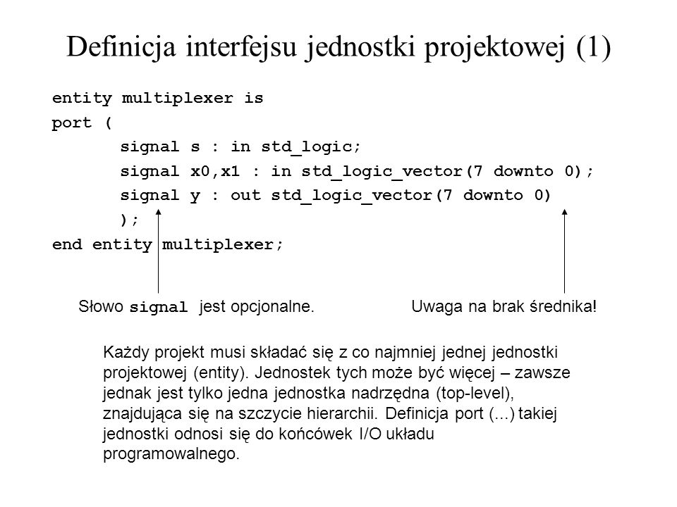Definicja interfejsu jednostki projektowej (1)