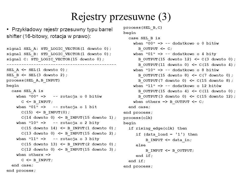 Rejestry przesuwne (3) Przykładowy rejestr przesuwny typu barrel shifter (16-bitowy, rotacja w prawo):