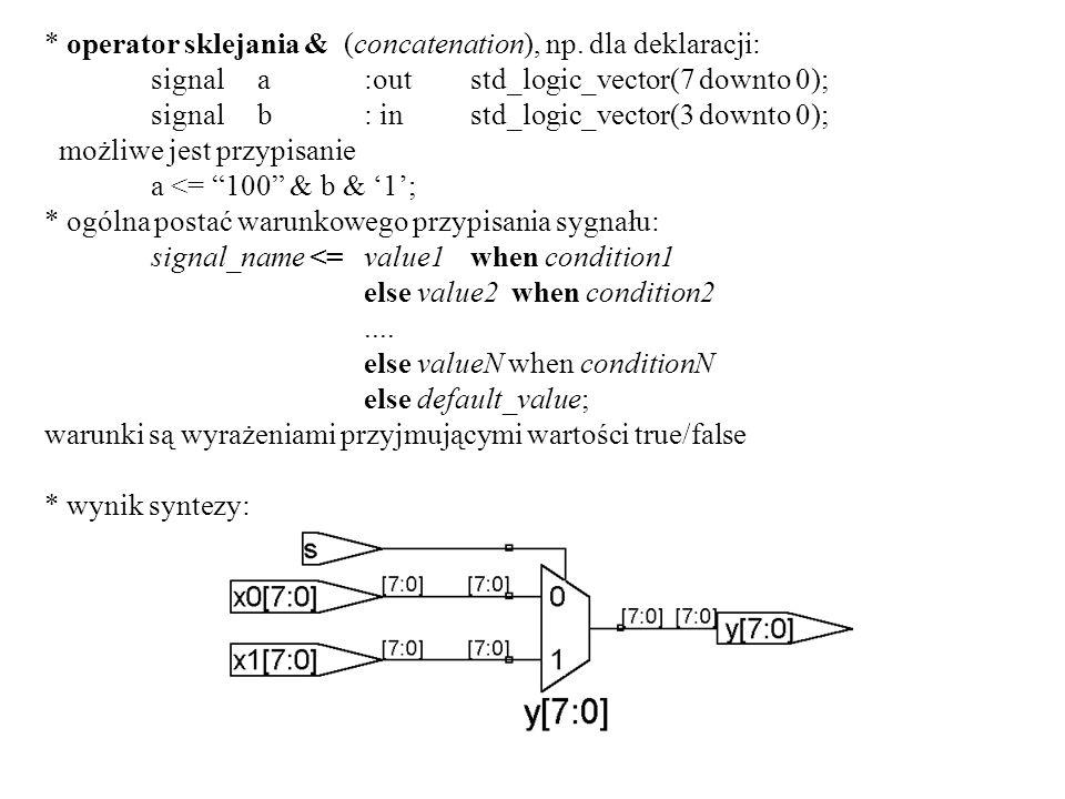 * operator sklejania & (concatenation), np. dla deklaracji: