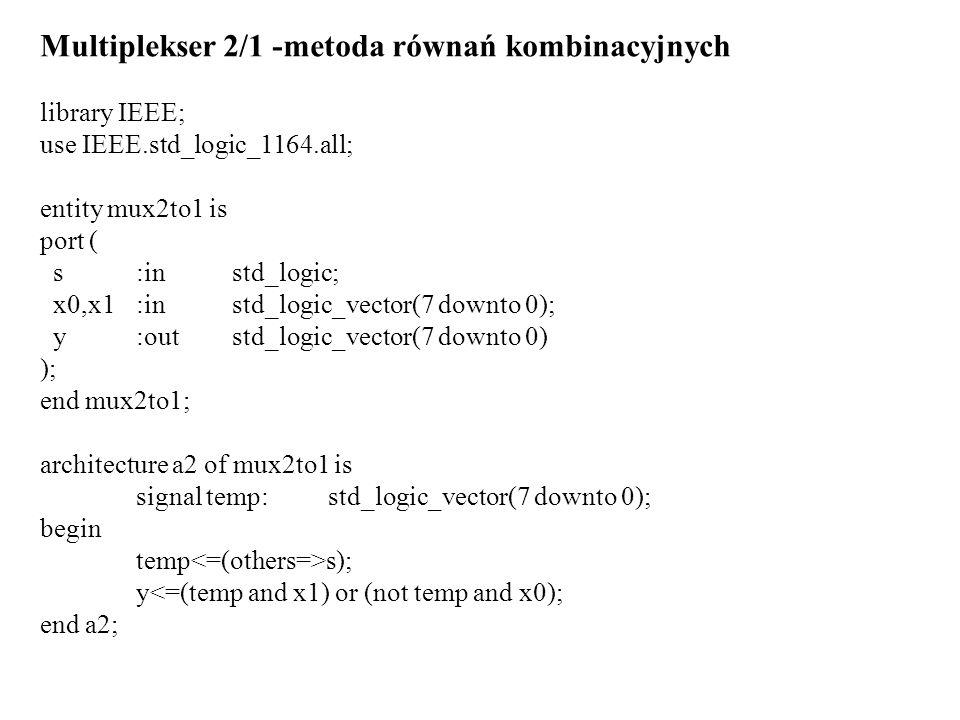 Multiplekser 2/1 -metoda równań kombinacyjnych
