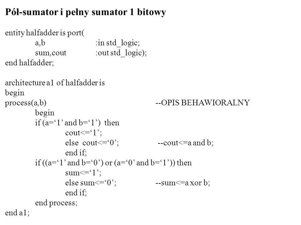 Pół-sumator i pełny sumator 1 bitowy