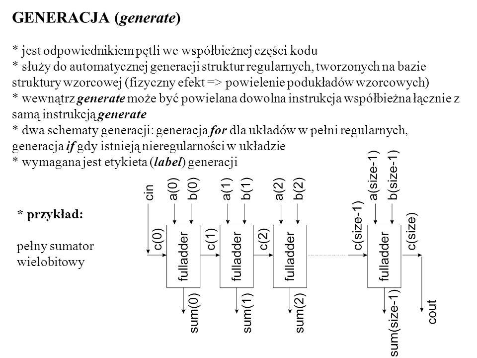 GENERACJA (generate) * jest odpowiednikiem pętli we współbieżnej części kodu.