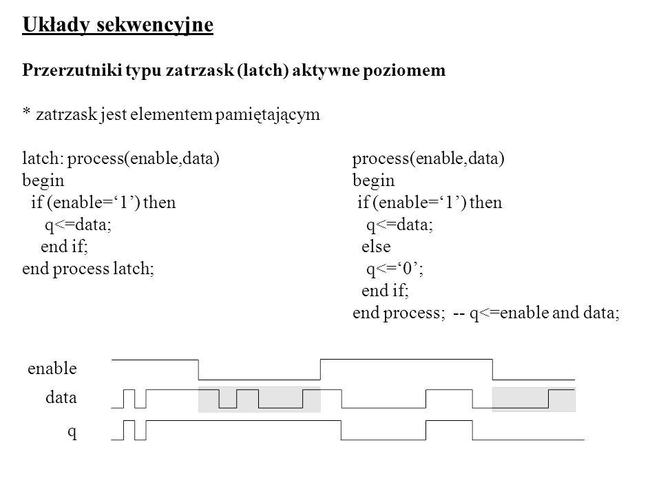 Układy sekwencyjne Przerzutniki typu zatrzask (latch) aktywne poziomem