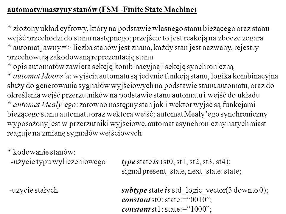 automaty/maszyny stanów (FSM -Finite State Machine)