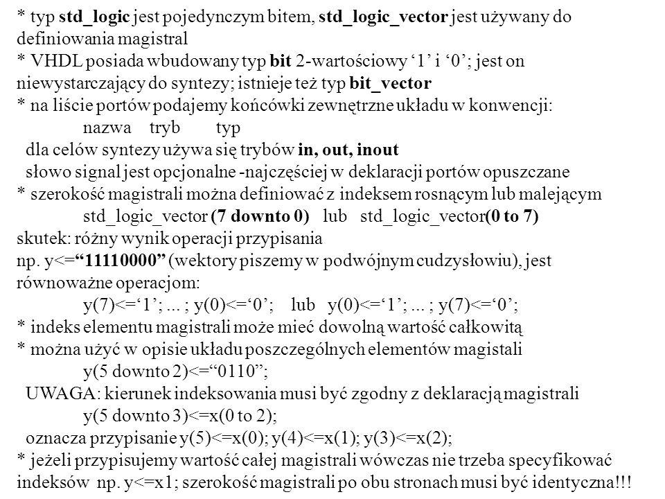* typ std_logic jest pojedynczym bitem, std_logic_vector jest używany do definiowania magistral