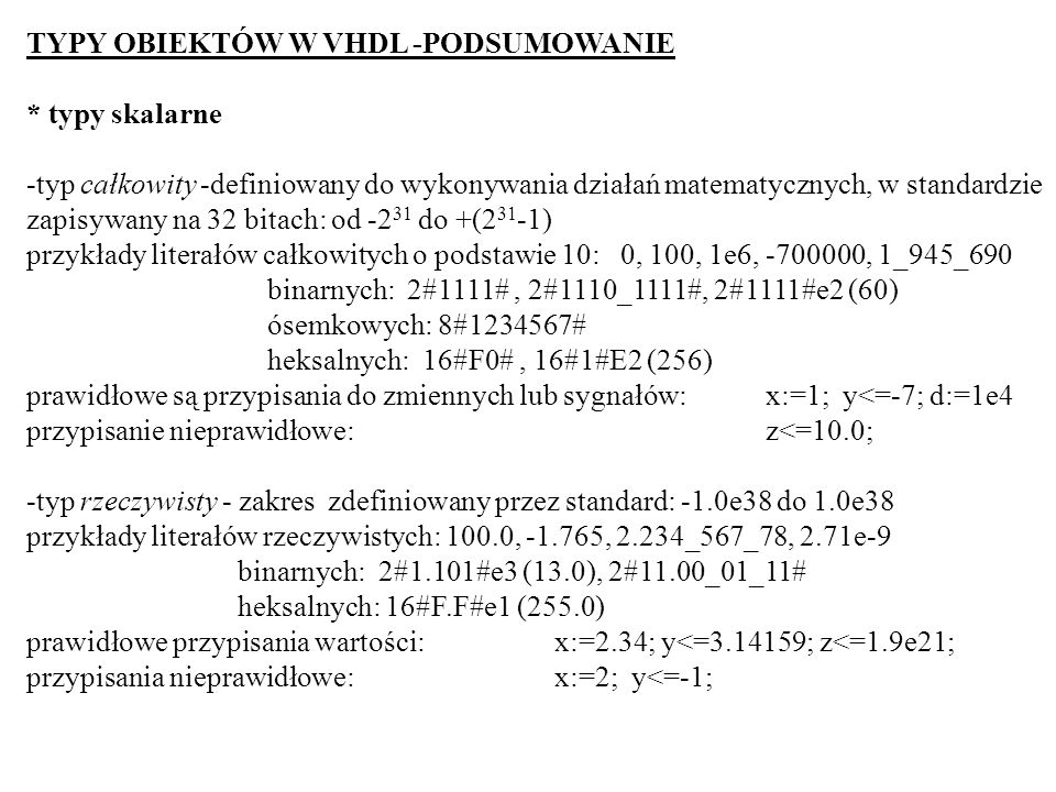TYPY OBIEKTÓW W VHDL -PODSUMOWANIE