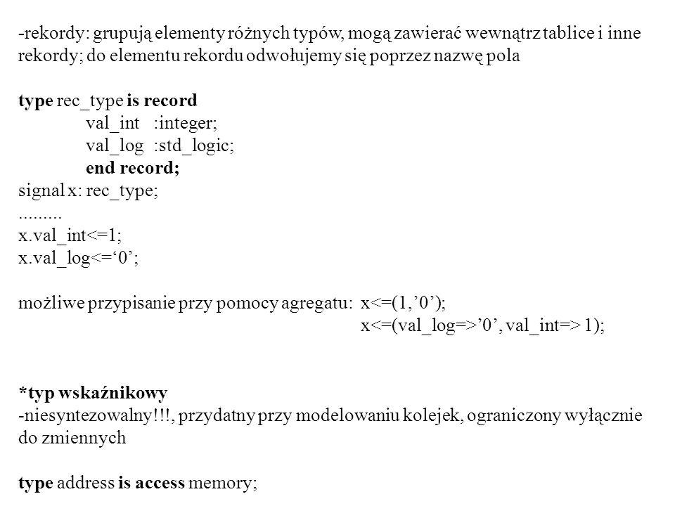 -rekordy: grupują elementy różnych typów, mogą zawierać wewnątrz tablice i inne rekordy; do elementu rekordu odwołujemy się poprzez nazwę pola