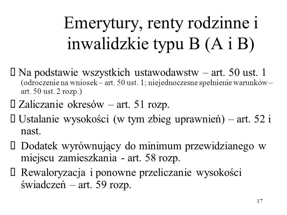 Emerytury, renty rodzinne i inwalidzkie typu B (A i B)
