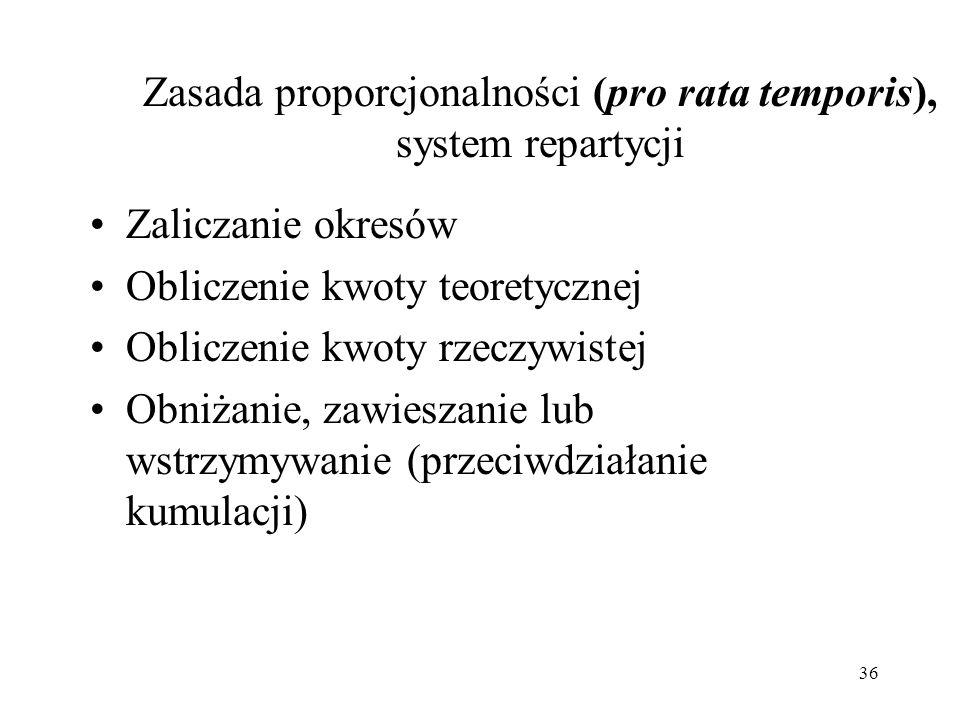 Zasada proporcjonalności (pro rata temporis), system repartycji