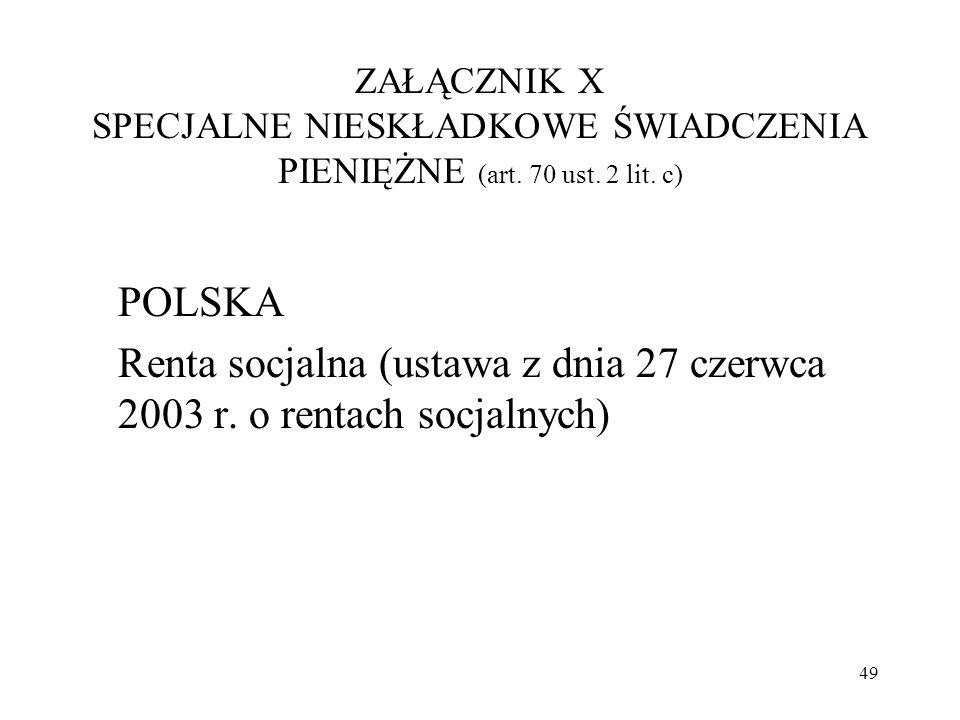 Renta socjalna (ustawa z dnia 27 czerwca 2003 r. o rentach socjalnych)