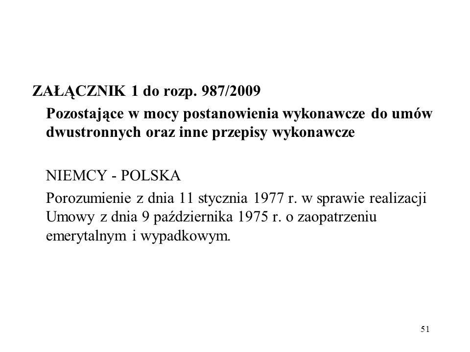 ZAŁĄCZNIK 1 do rozp. 987/2009 Pozostające w mocy postanowienia wykonawcze do umów dwustronnych oraz inne przepisy wykonawcze.