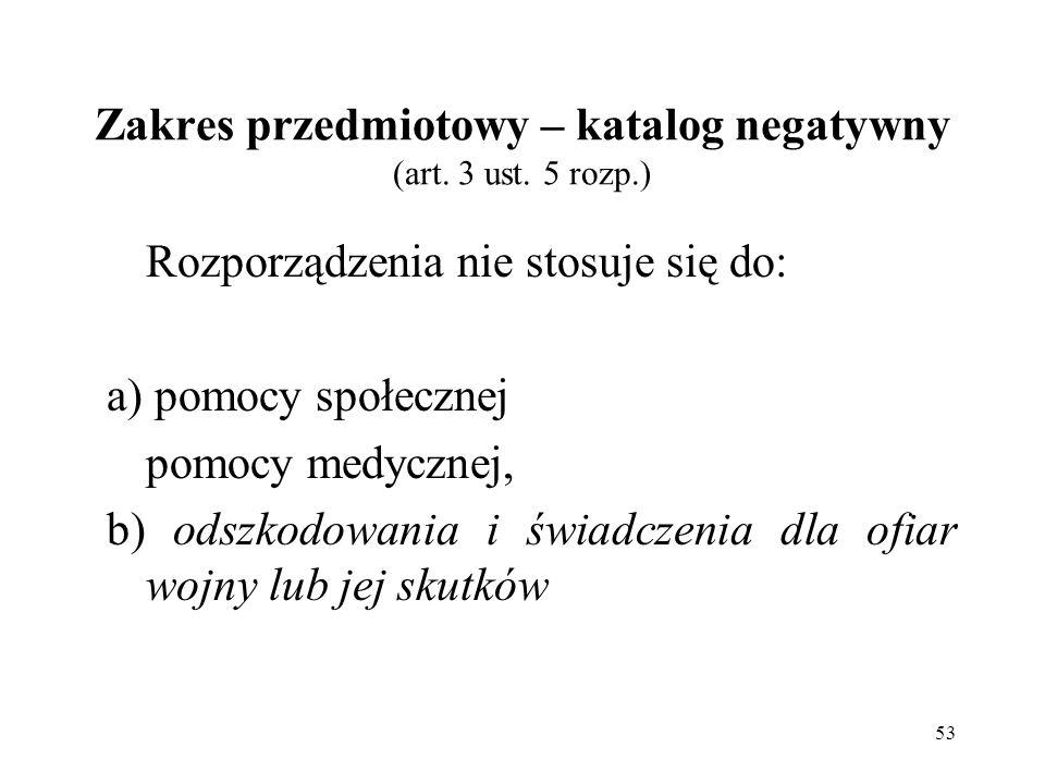 Zakres przedmiotowy – katalog negatywny (art. 3 ust. 5 rozp.)
