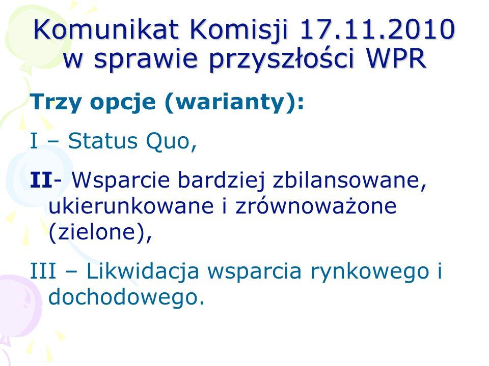 Komunikat Komisji 17.11.2010 w sprawie przyszłości WPR