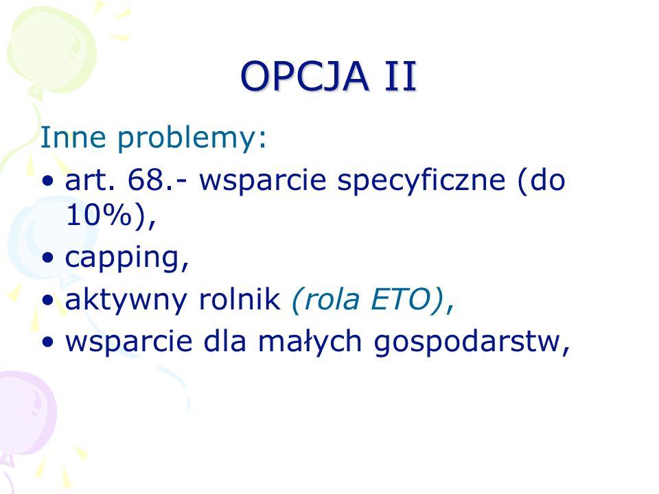OPCJA II Inne problemy: art. 68.- wsparcie specyficzne (do 10%),