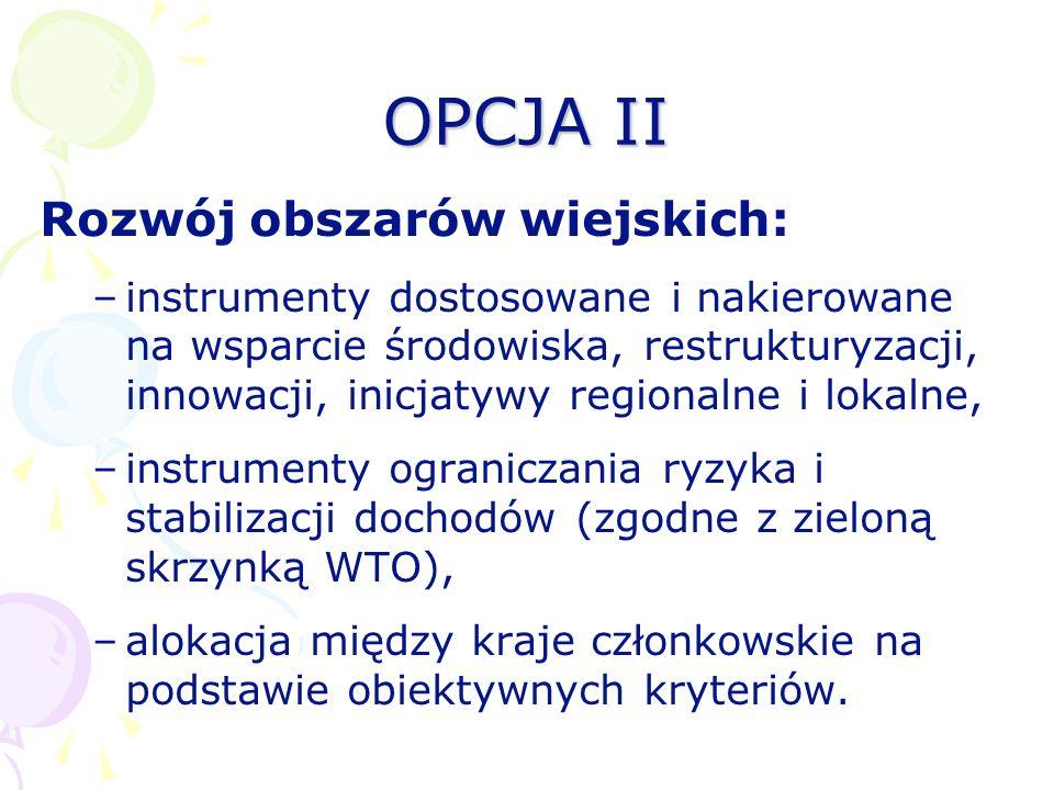 OPCJA II Rozwój obszarów wiejskich: