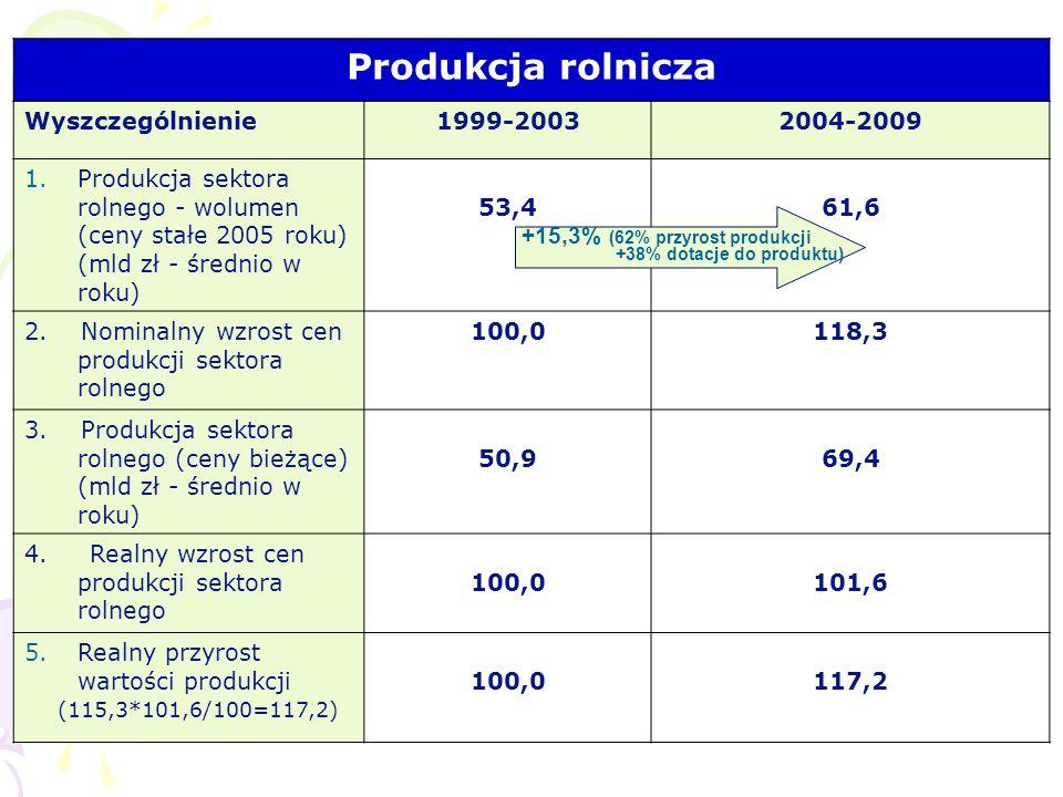Produkcja rolnicza Wyszczególnienie 1999-2003 2004-2009