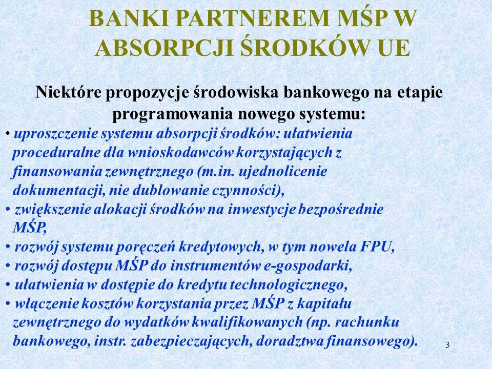 BANKI PARTNEREM MŚP W ABSORPCJI ŚRODKÓW UE