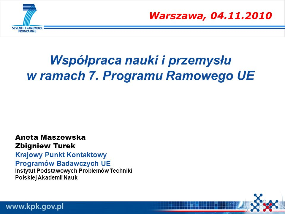 Współpraca nauki i przemysłu w ramach 7. Programu Ramowego UE