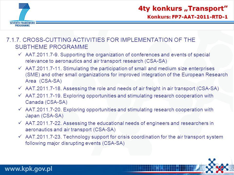 "4ty konkurs ""Transport Konkurs: FP7-AAT-2011-RTD-1"