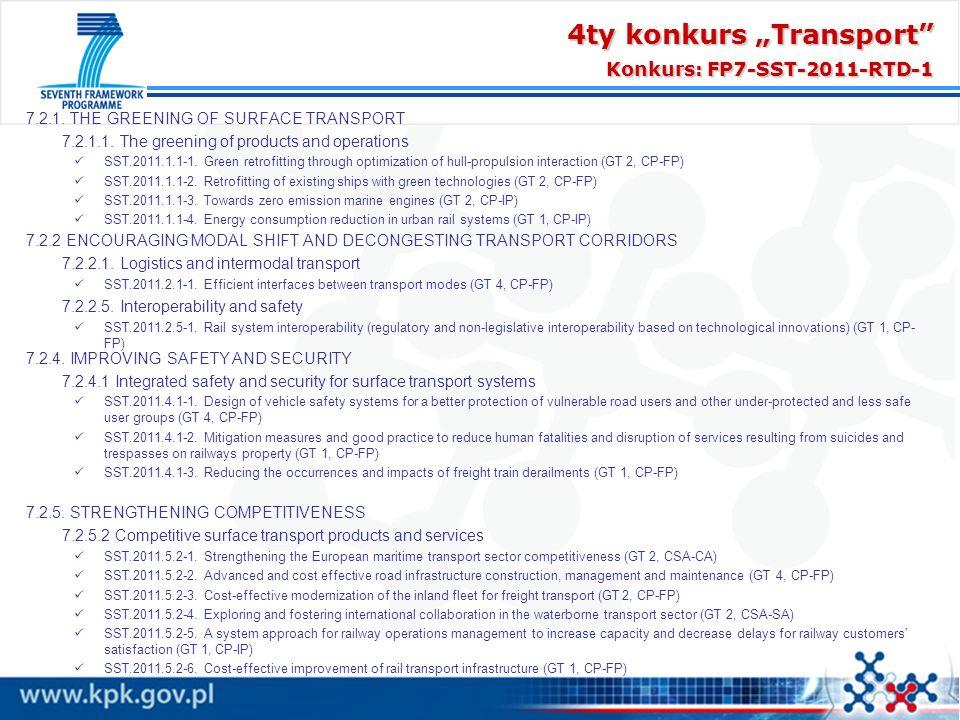 "4ty konkurs ""Transport Konkurs: FP7-SST-2011-RTD-1"
