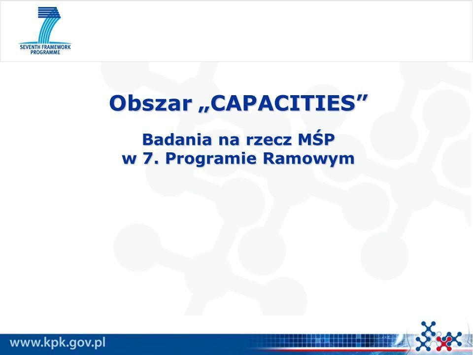 """Obszar """"CAPACITIES Badania na rzecz MŚP w 7. Programie Ramowym"""