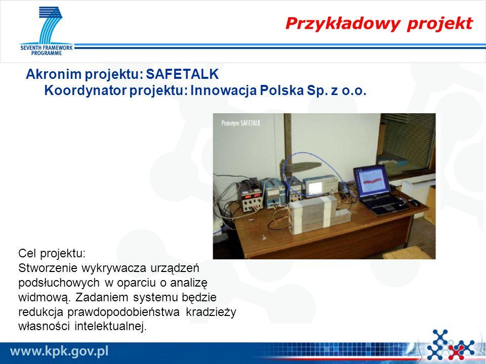 Przykładowy projekt Akronim projektu: SAFETALK Koordynator projektu: Innowacja Polska Sp. z o.o. Cel projektu: