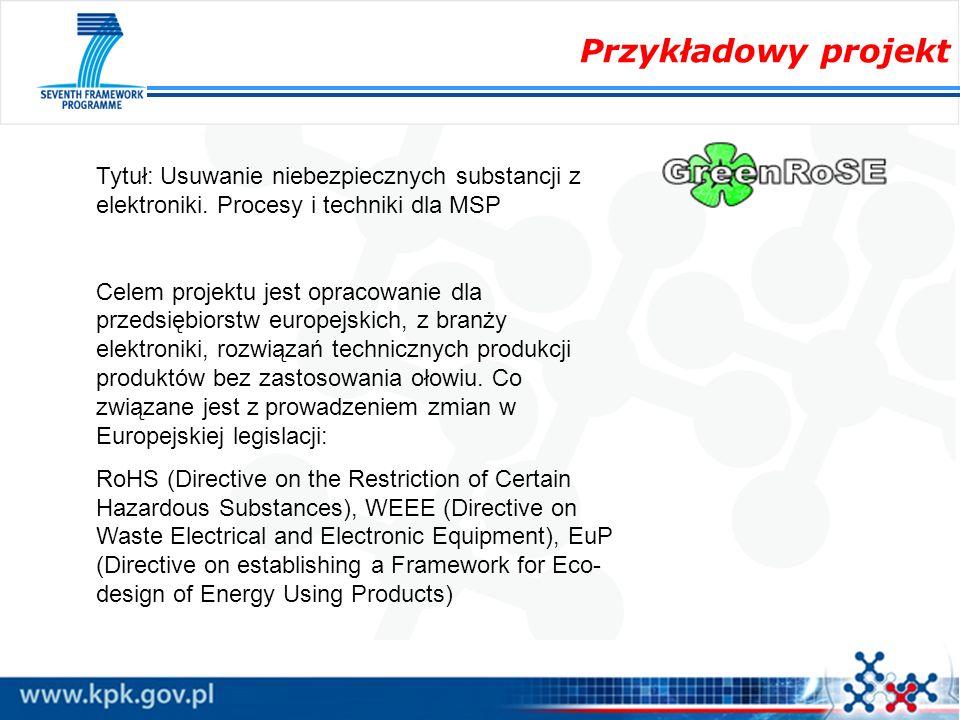 Przykładowy projekt Tytuł: Usuwanie niebezpiecznych substancji z elektroniki. Procesy i techniki dla MSP.