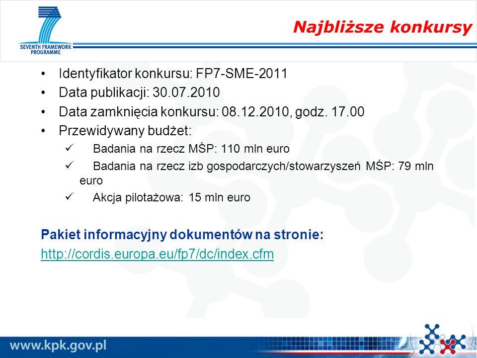 Najbliższe konkursy Identyfikator konkursu: FP7-SME-2011