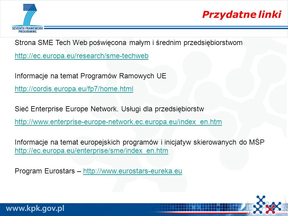 Przydatne linkiStrona SME Tech Web poświęcona małym i średnim przedsiębiorstwom. http://ec.europa.eu/research/sme-techweb.