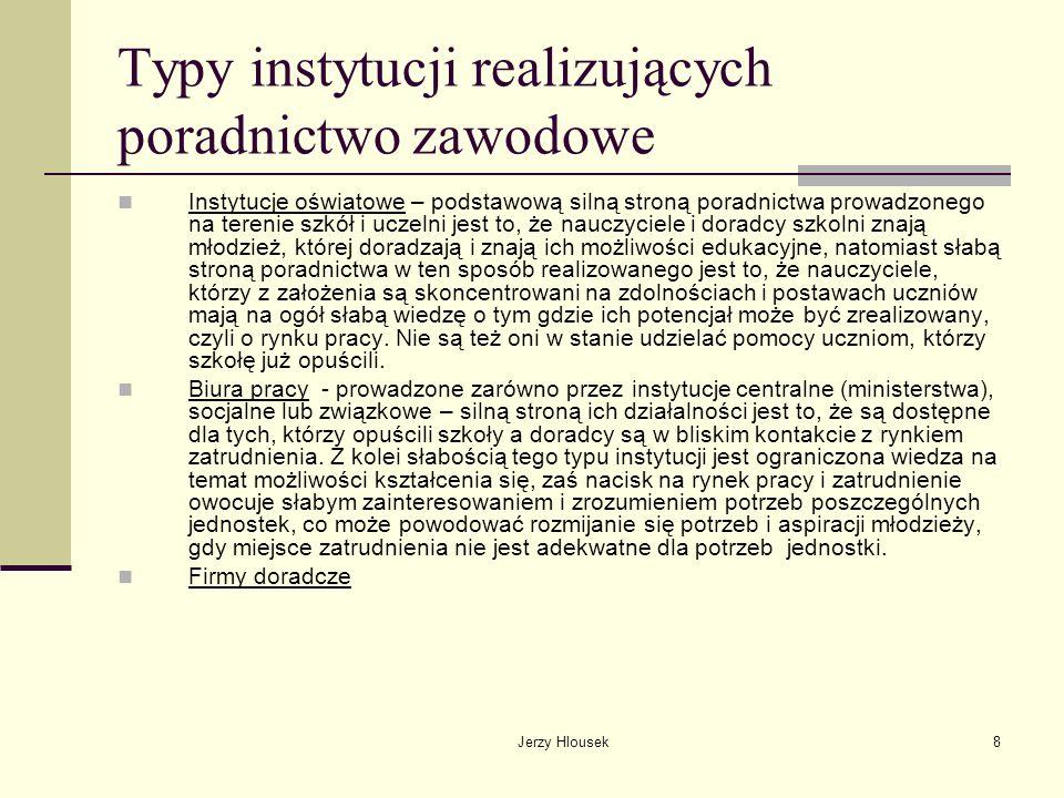 Typy instytucji realizujących poradnictwo zawodowe