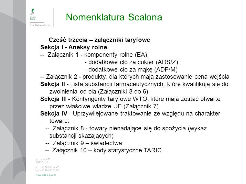 Nomenklatura Scalona Cześć trzecia – załączniki taryfowe