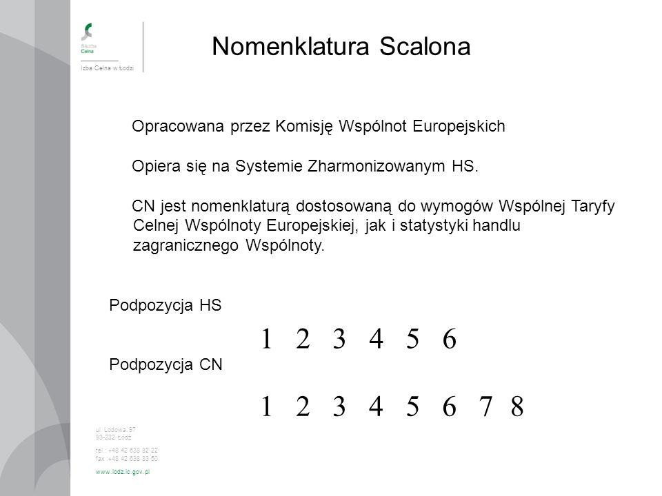 Nomenklatura Scalona Izba Celna w Łodzi. Opracowana przez Komisję Wspólnot Europejskich. Opiera się na Systemie Zharmonizowanym HS.