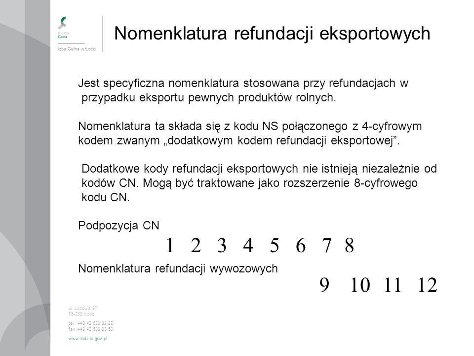 1 2 3 4 5 6 7 8 9 10 11 12 Nomenklatura refundacji eksportowych