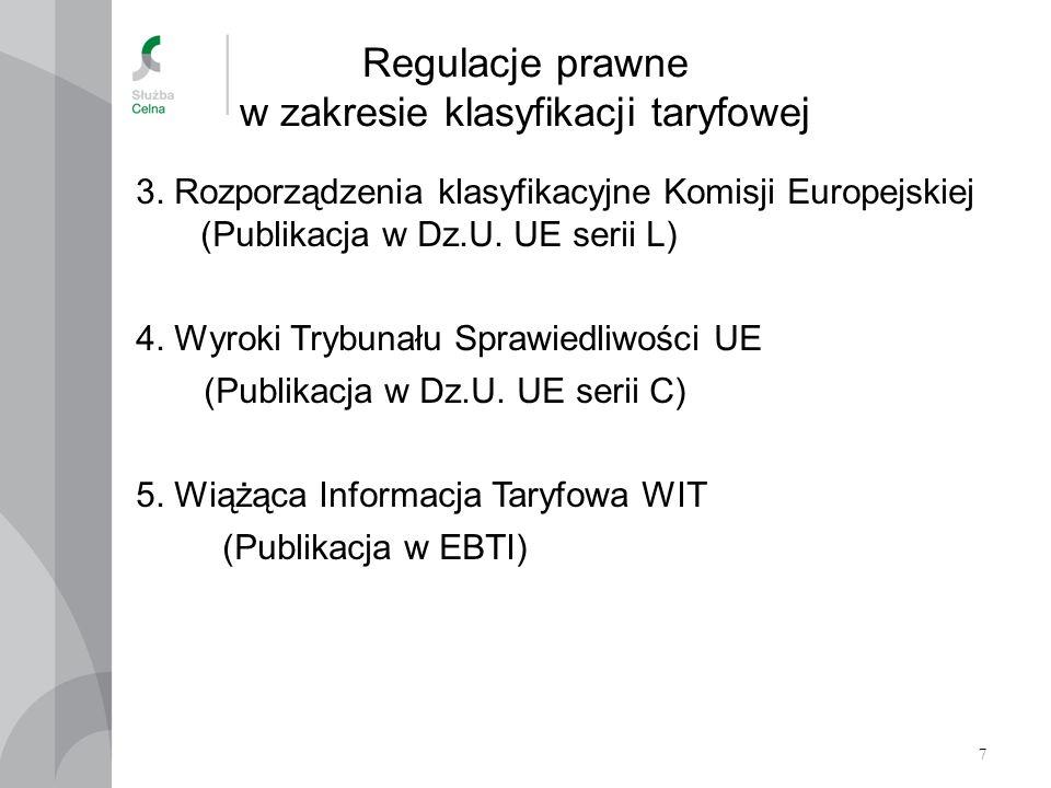Regulacje prawne w zakresie klasyfikacji taryfowej