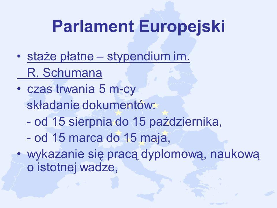 Parlament Europejski staże płatne – stypendium im. R. Schumana