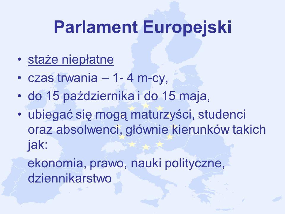 Parlament Europejski staże niepłatne czas trwania – 1- 4 m-cy,