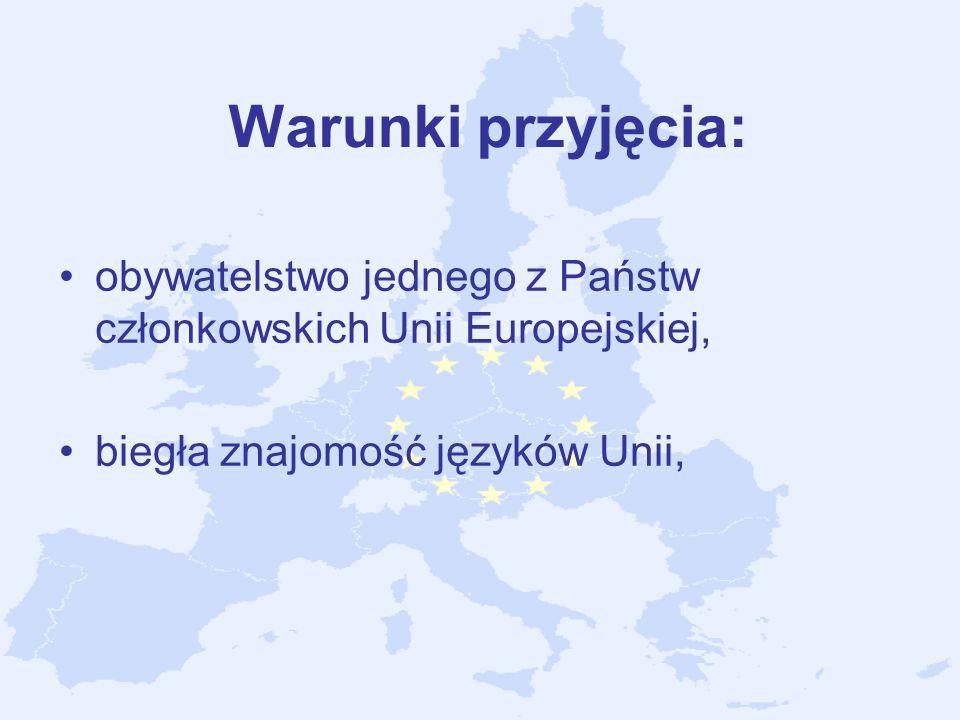 Warunki przyjęcia:obywatelstwo jednego z Państw członkowskich Unii Europejskiej, biegła znajomość języków Unii,