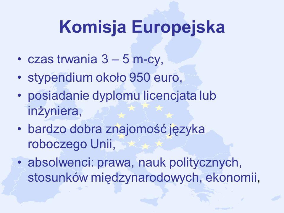 Komisja Europejska czas trwania 3 – 5 m-cy, stypendium około 950 euro,