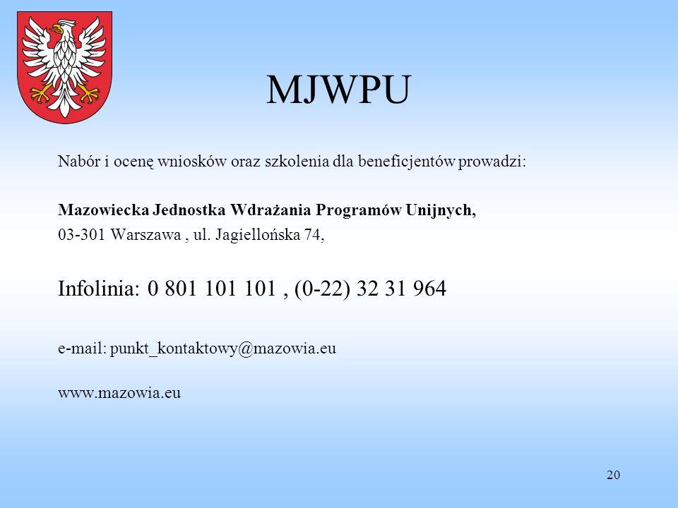 MJWPU Nabór i ocenę wniosków oraz szkolenia dla beneficjentów prowadzi: Mazowiecka Jednostka Wdrażania Programów Unijnych,