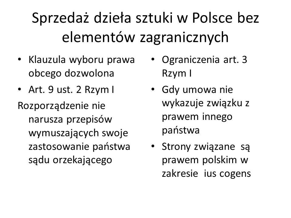 Sprzedaż dzieła sztuki w Polsce bez elementów zagranicznych