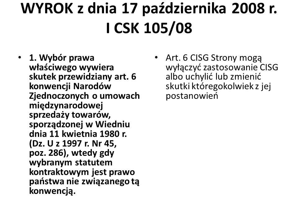 WYROK z dnia 17 października 2008 r. I CSK 105/08