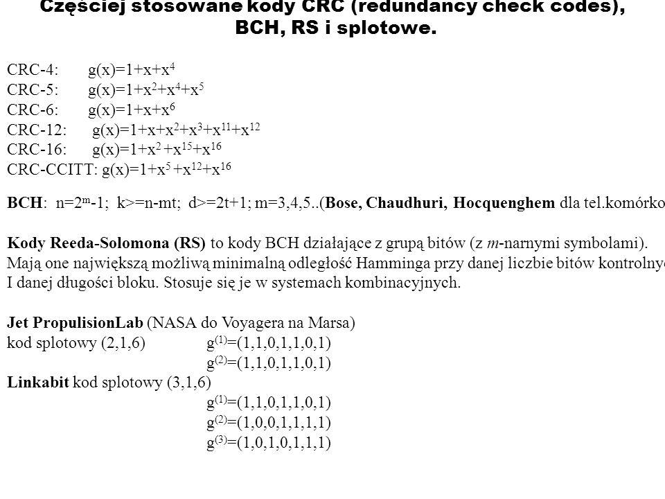 Częściej stosowane kody CRC (redundancy check codes), BCH, RS i splotowe.